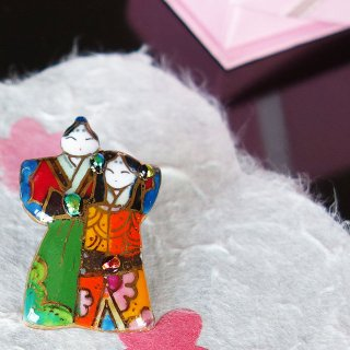 雛人形の七宝焼ピンブローチ(ピンバッジ)6
