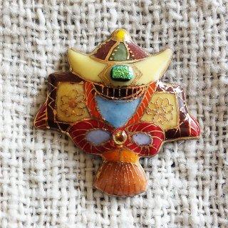かぶと飾りの七宝焼ピンブローチ(ピンバッジ) 2