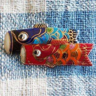 鯉のぼり(大)の七宝焼ブローチ