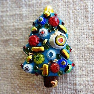 クリスマスツリーの七宝焼ブローチ (1)
