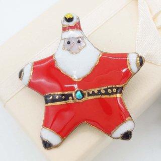 星形サンタクロースの七宝焼ブローチ