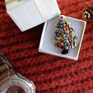 クリスマスツリーの七宝焼ピンブローチ(ピンバッジ) 1