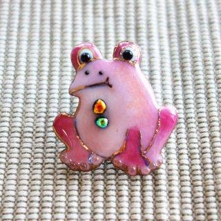 カエルの七宝焼ピンブローチ(ピンバッジ)  ピンク