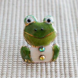 カエルの七宝焼ピンブローチ(ピンバッジ)  正面
