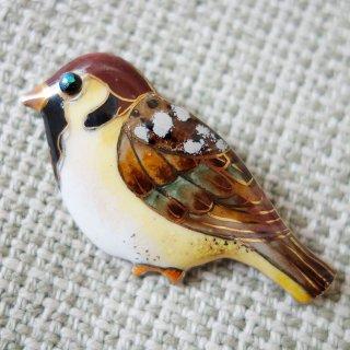 鳥のブローチ スズメ