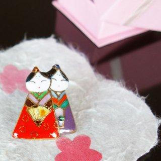 雛人形の七宝焼ピンブローチ(ピンバッジ)1