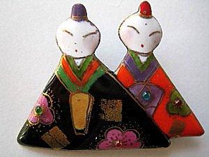 雛人形の七宝焼ブローチ (4)