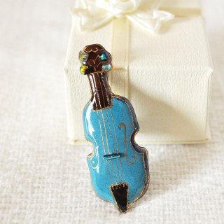 バイオリン[青]の七宝焼ピンブローチ(ピンバッジ)