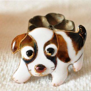 かわいい犬の七宝焼ブローチ(BD-1)