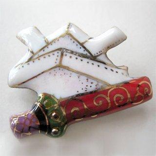 折り紙かぶと&刀の七宝焼ブローチ