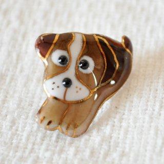 かわいい犬の七宝焼ピンブローチ(ピンバッジ)  PD-1