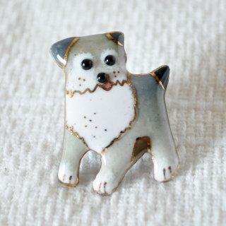 かわいい灰色犬の七宝焼ピンブローチ(ピンバッジ)  PD-2