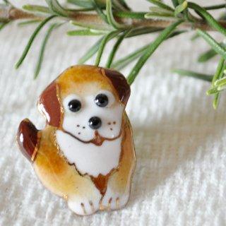 かわいい犬の七宝焼ピンブローチ(ピンバッジ)  PD-3