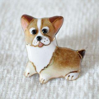 かわいい犬の七宝焼ピンブローチ(ピンバッジ) PD-5