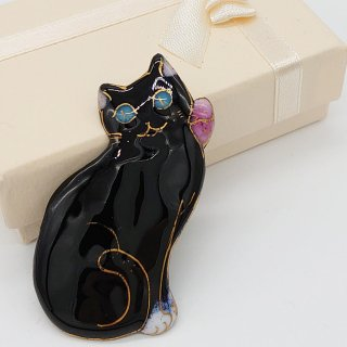 黒猫の七宝焼ブローチ