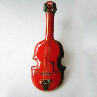 バイオリン[赤]の七宝焼ブローチ