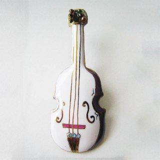 バイオリン[白]の七宝焼ブローチ