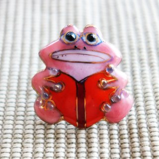カエルの七宝焼ピンブローチ(ピンバッジ)  本
