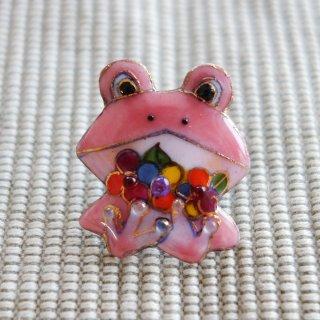 カエルの七宝焼ピンブローチ(ピンバッジ)  花