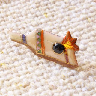 羽子板の七宝焼ピンブローチ(ピンバッジ)