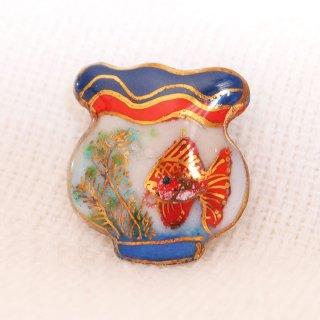 金魚鉢(濃い色)の七宝焼ピンブローチ(ピンバッジ)