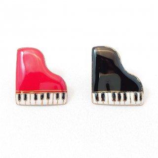 ピアノの七宝焼ピンブローチ(ピンバッジ) [赤/黒]
