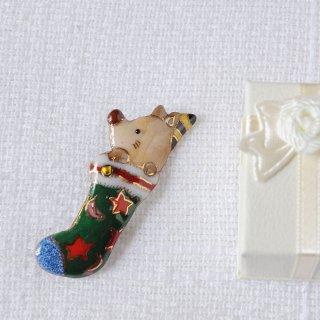 クリスマスのプレゼント靴下の七宝焼ブローチ (2)