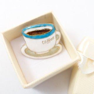 コーヒーカップの七宝焼ピンブローチ(ピンバッジ)