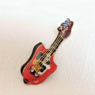エレキギター[赤]の七宝焼ピンブローチ(ピンバッジ)