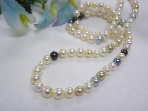 (春セールNo.3)あこや真珠マルチカラー83cmロングネックレス