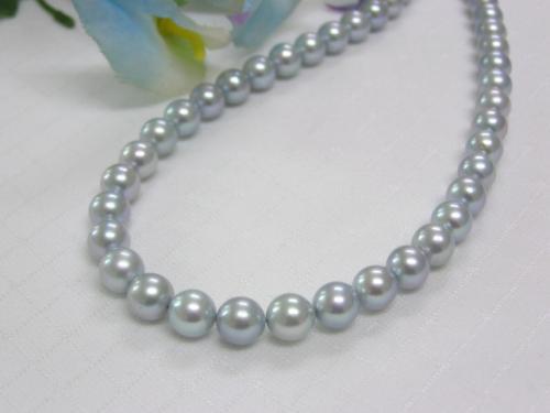 (春セールNo.7)あこや真珠グレー7-7.5mmネックレス