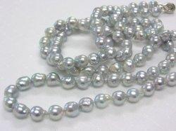 特価★あこや真珠グレーバロック7-7.5mmロングネックレス(83.5cm)