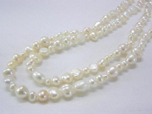 淡水真珠ロング155cm[K]バロック白