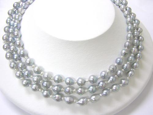 あこや本真珠グレー★ロングネックレス(124cm)