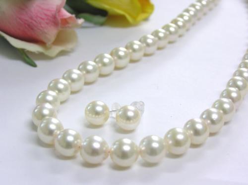大珠★あこや真珠8-8.5mmネックレスピアスセット[B]♪