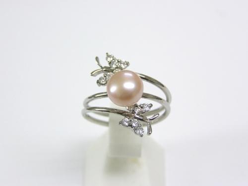 SV淡水真珠(ピンクパープル)フリーサイズリング