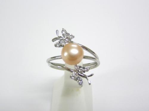 SV淡水真珠(オレンジ)フリーサイズリング