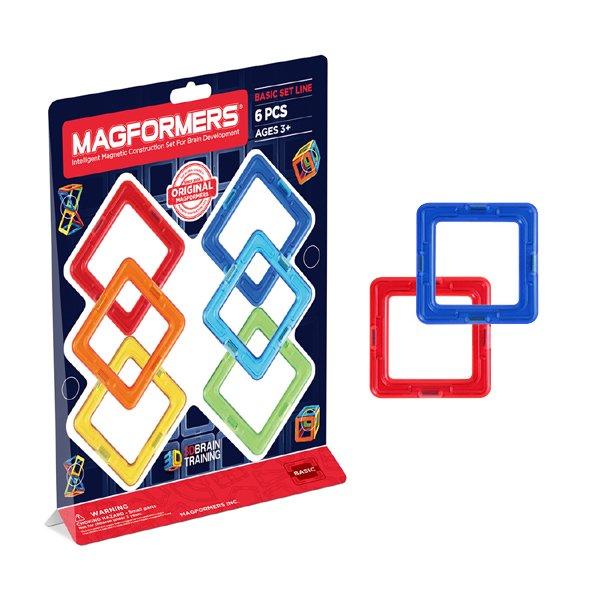 [Bornelund ボーネルンド]マグフォーマー 正方形セット 6ピース