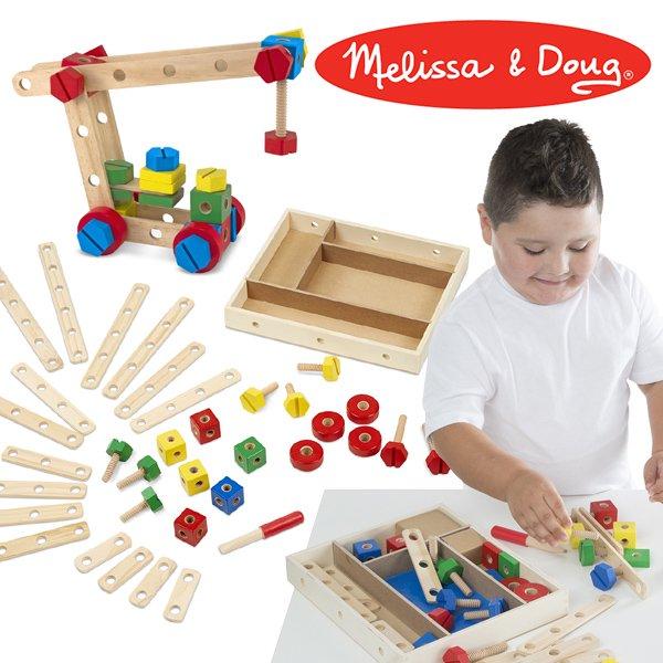 [Melissa & Doug メリッサ&ダグ]コンストラクションセット(木製BOX入り)