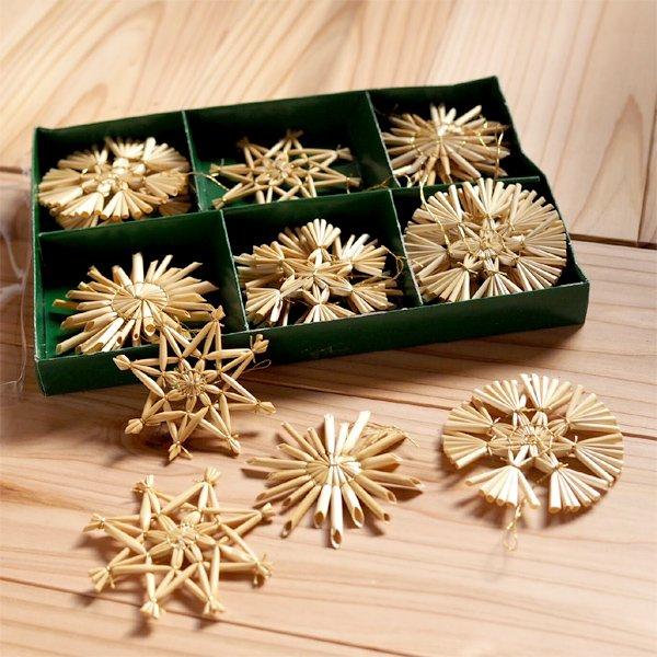 [Kimmerle キマール社]クリスマス ストローオーナメント 18個セット 金糸 6-9cm 緑紙箱入