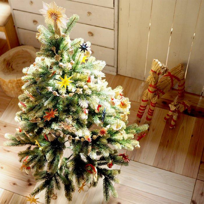 [Kimmerle キマール社]クリスマス 木製オーナメント 星ベル付 白木 5cm