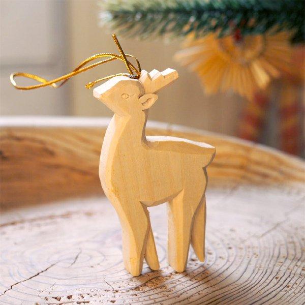 [Kimmerle キマール社]クリスマス 木製オーナメント 手彫りシカ 8cm