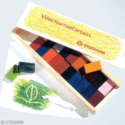 【メール便可】[Stockmar シュトックマー社]蜜ろうクレヨン ブロッククレヨン 24色 木箱