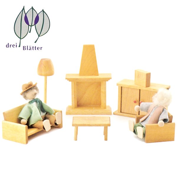 [Drei Blatter ドライブラッター社]ドールハウス 人形の家用 居間セット