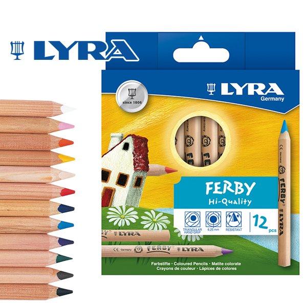 【メール便可】[LYRA リラ社]FERBY ファルビー 色鉛筆 軸白木 12色セット