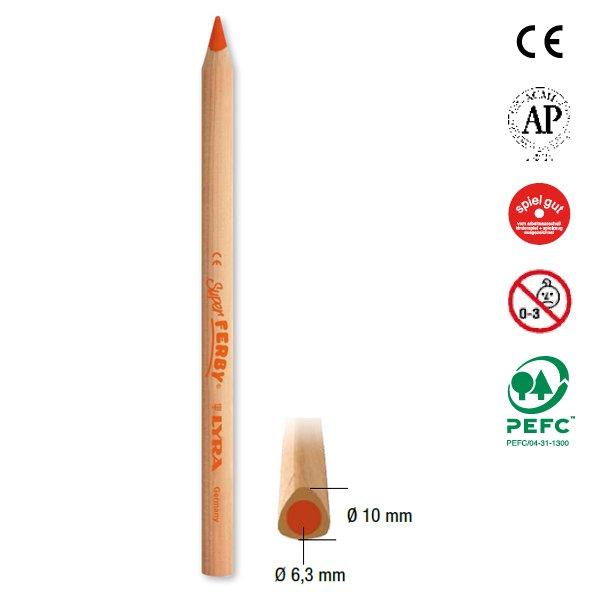 【メール便可】[LYRA リラ社]Super FERBY スーパーファルビー 色鉛筆 軸白木 6色セット