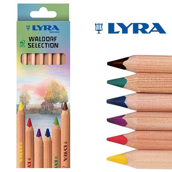 【メール便可】[LYRA リラ社]Super FERBY スーパーファルビー 色鉛筆 軸白木 ヴァルドルフ6色セット