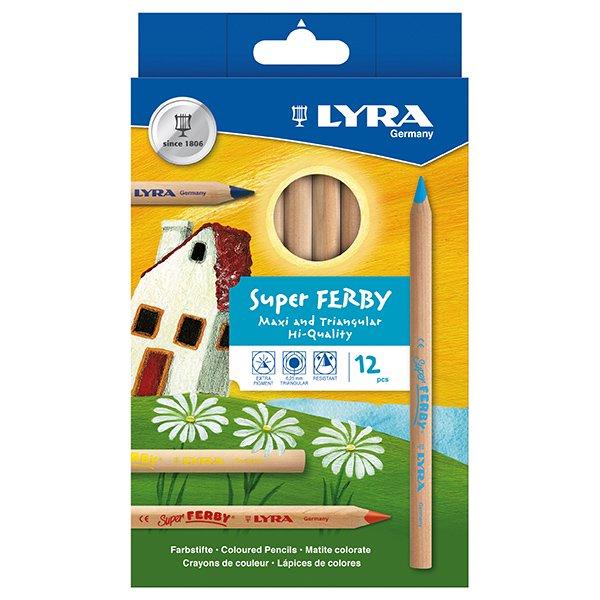【メール便可】[LYRA リラ社]Super FERBY スーパーファルビー 色鉛筆 軸白木 12色セット