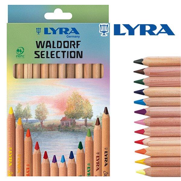 【メール便可】[LYRA リラ社]Super FERBY スーパーファルビー 色鉛筆 軸白木 ヴァルドルフ12色セット