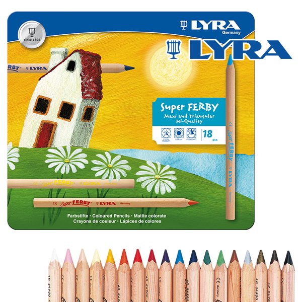 [LYRA リラ社]Super FERBY スーパーファルビー 色鉛筆 軸白木 18色 メタルケースセット